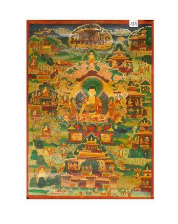 Thangka, with multicoloured painted figural decorations in landscape with monuments and Buddha in