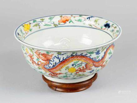 Chinese Porcelain Bowl, round curved shape, with painted dragons, flowers and leaves on white