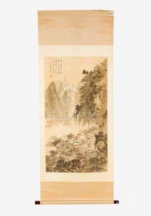 Chinese Roll Painting, fisher in landscape, southern Chinese artist, Indian ink with watercolours on
