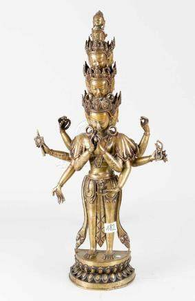 Avalokiteshvara, bronze cast on integrated base, with eight hands, and several heads, very fine