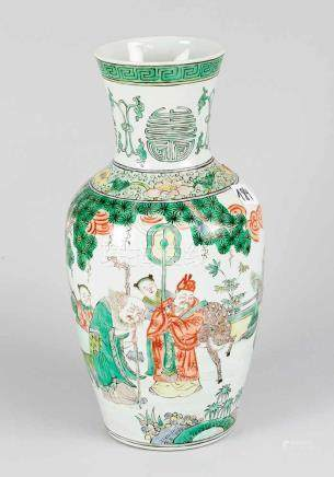 Chinese Porcelain Vase, in baluster shape with bride neck, painted with figural scenes in landscape,