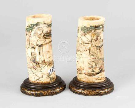 Pair of Asian Carvings, in natural shape with deep figural carved scenes in landscapes, partly