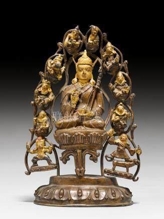 合金铜蓮花生大士佛像。