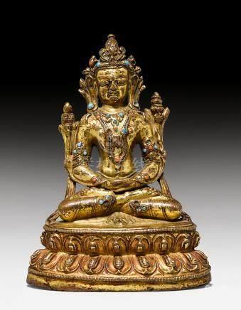 鎏金銅合金智慧佛母像。