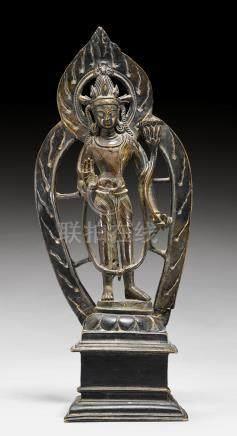 合金铜文殊菩薩立像。