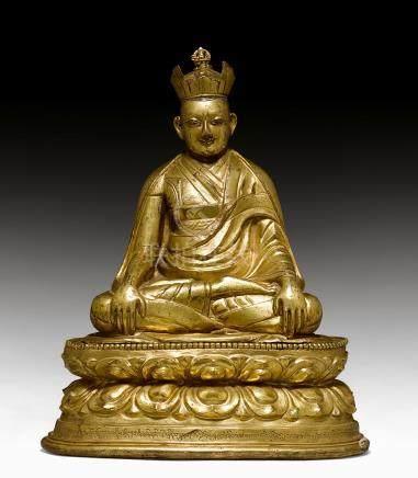 鑄銅鎏金噶玛巴像。
