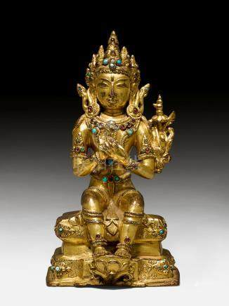 鎏金合金铜彌勒菩薩像。