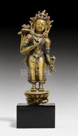 小型鎏金金剛手菩薩像。