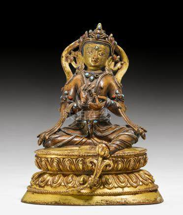 局部鎏金合金铜菩薩像。