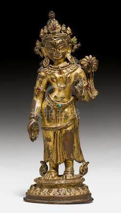 精美的鎏金铜菩薩立像。
