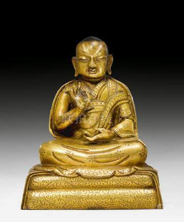 鎏金喇嘛像。