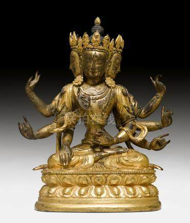 铜鎏金八臂菩薩像。