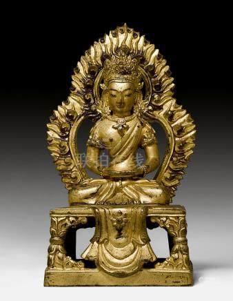 鎏金青銅阿弥陀佛像。