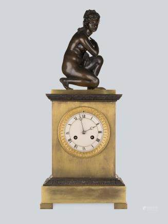A Figurative Bronze Mantel Clock by Vishnevsky Bros., Moscow 1890's.