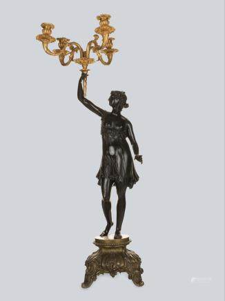 A Gilt and Patinated Bronze Figurative Candelabra by Vishnevsky Bros.