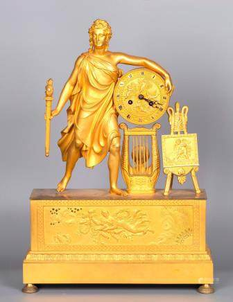 A Figurative Gilt Bronze Mantel Clock by Vishnevsky Bros., Moscow 1890's, marked.