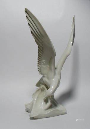 A Meissen  White Porcelain Figure of a Seagull.