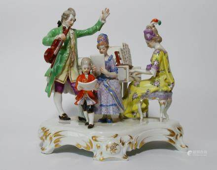 A Rare Meissen Porcelain Quartet Figural Group with Piano, 19th Century.
