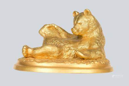A Soviet Russian Gilt Cast Iron Figure of Bear, Kasli Foundry.