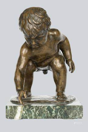 A Patinated Bronze Figure of Playing Boy by August Kraus(1868-1934), Germany 1906.