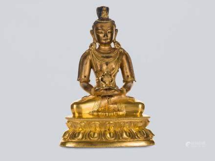 A Gilt Bronze Figure of Amitayus, China, 18th Century.