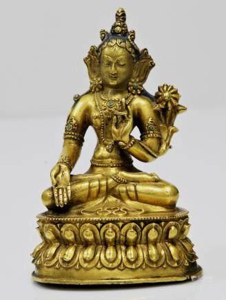 A Gilt Bronze Figure of White Tara, Tibet 16th Century.