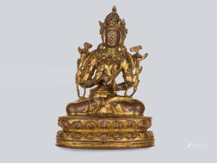 A Gilt Bronze Figure of White(Sita) Prajnaparamita, Tibet 14th Century.