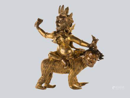 An Extremely Rare Gilt Bronze Figure of Dongmarma Riding a Demon Rakshasa, Tibet, 18th Century.