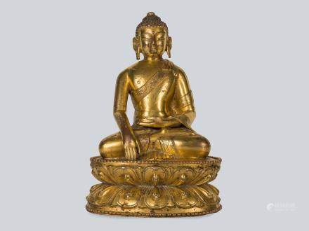 A Rare Gilt Bronze Figure of Shakyamuni, Tibet 13-14th Century.