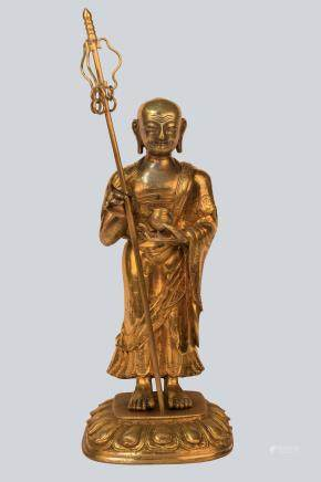 A Gilt Bronze Figurine of Bodhisattva Ksitigarbha, China 18th Century.