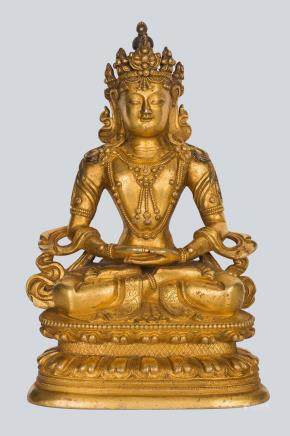 A Gilt Bronze Figure of Amitayus, China, 17-18th Century.