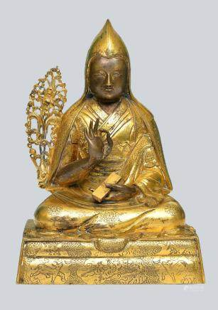 An Extremely Rare Gilt Bronze Figurine of The First Dalai Lama Gedun Drupa, Tibet, 17-18th Century.