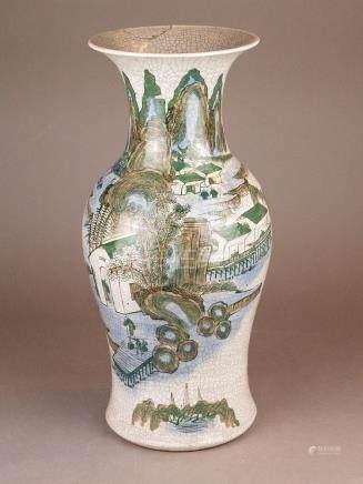 Baluster vase - China, Craquelee glaze, decor in poychrome e