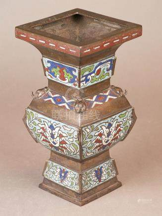 Cloisonné vase - China late Qing Dynasty, square shape, wall