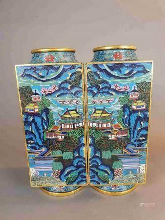 A Pair of Rare Cloisonné Enamel Square 'Landscape' Vases - o