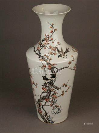 'Famille rose' magpies and blooming plum tree vase - China,