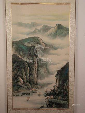 Chinese scroll painting - China 20th c., light colors on pap