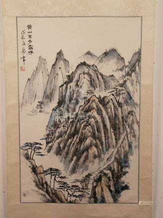 Chinese scroll painting - ink and light colors on paper, Roc