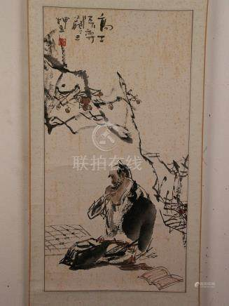 Chinese scroll painting - ink and light colors on paper, xia