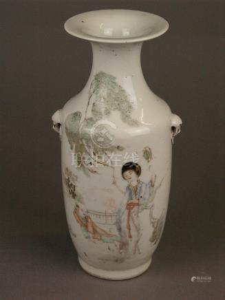 Rouleau vase - China early 20th century, fine decoration wit