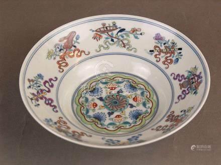 A doucai 'anbaxian' ogee dish - China, porcelain brightly en
