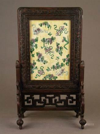 Table screen with ceramic plate - China, rectangular ceramic