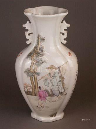 Vase - China 20th century, porcelain decorated with enamel c