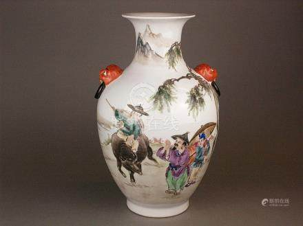 Vase - China 20th century, bellied form with handles in the