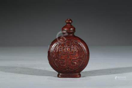 A BAMBOO CARVED SNUFF BOTTLE