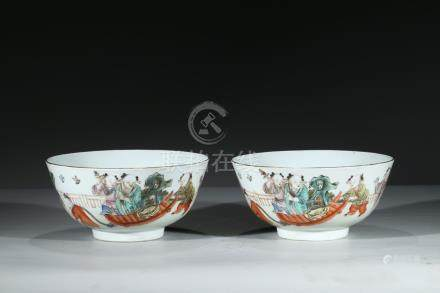 A PAIR OF FAMILLE-ROSE 'BOYS' BOWLS