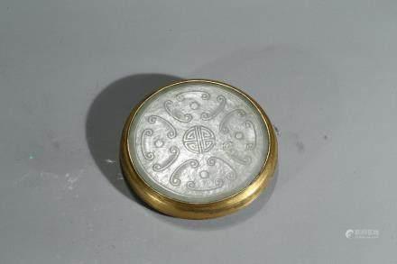 A GILT-BRONZE WITH WHITE JADE INLAID BELT BUCKLE