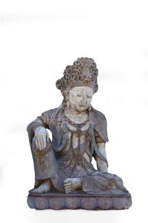 A RARE LARGE PAINTED STONE FIGURE OF GUANYIN