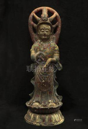 LARGE RARE ZHENGUAN PERIOD BRONZE PAINTED FIGURE OF BODHISAT