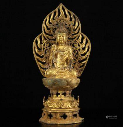 A TANG DYNASTY TIBETAN GILT BRONZE FIGURE OF SAKYAMUNI